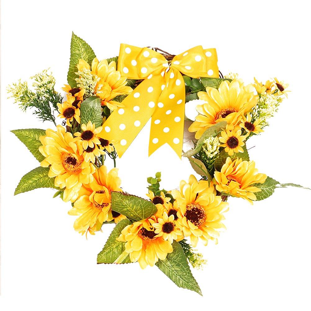 BESTOYARD Sonnenblume-Kranz-k/ünstliche gef/älschte Blume verl/ässt T/ürwanddekorative Verzierungen