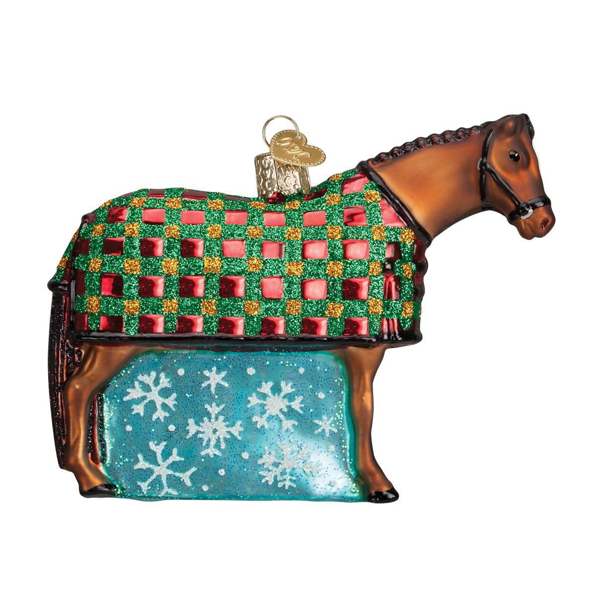 Old World Christbaumschmuck  Schneeflocke Pferd aus Glas geblasen Ornamente für Weihnachtsbaum