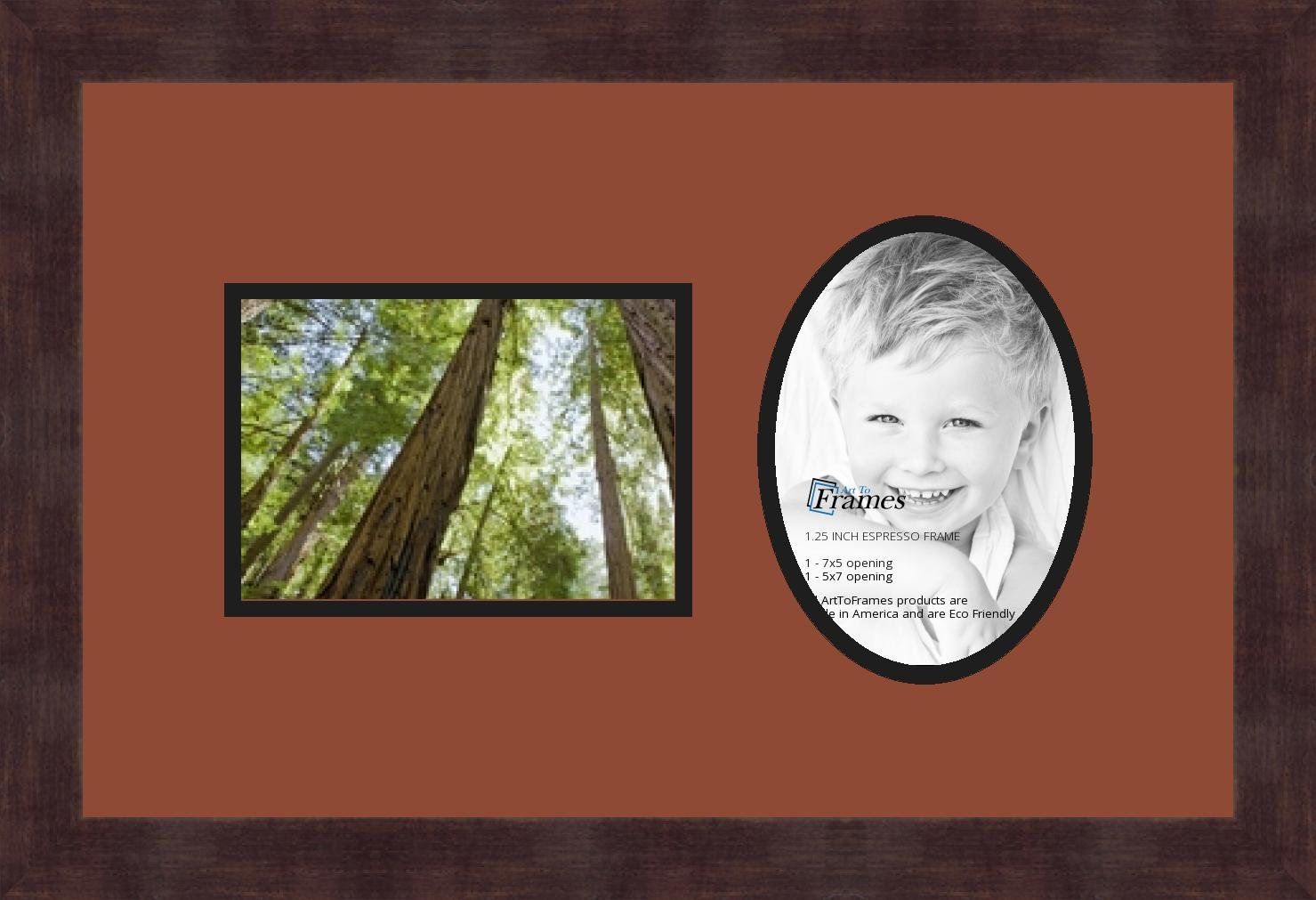 Art to Frames Double-Multimat-479-766//89-FRBW26061 Collage Frame Photo Mat Double Mat with 2-5x7 Openings and Espresso Frame