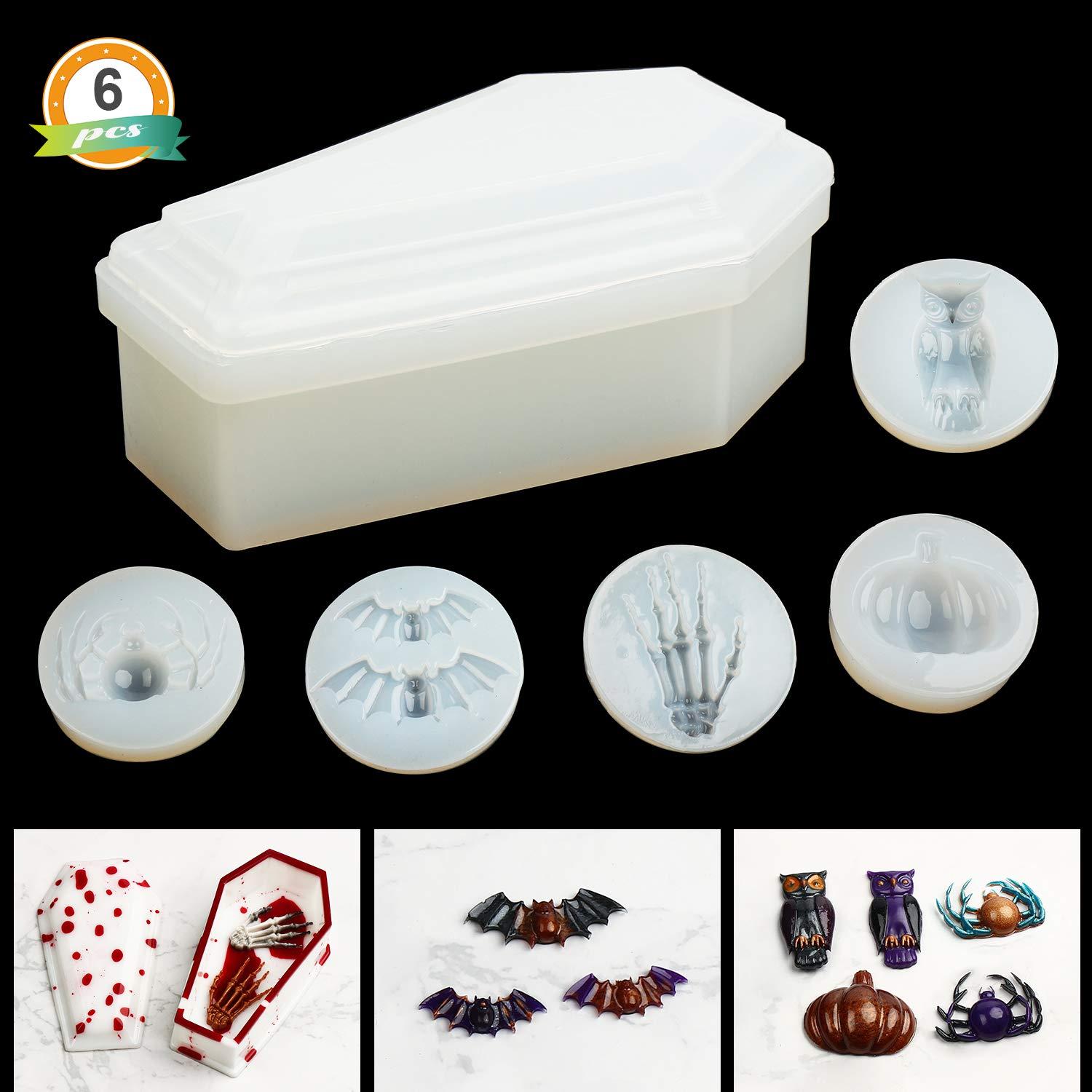 Including Trinket Box Molds and Bat LETS RESIN Halloween Themed Resin Silicone Mold Spider Owl Pumpkin Shape Keychain Mold Set Skull Hands