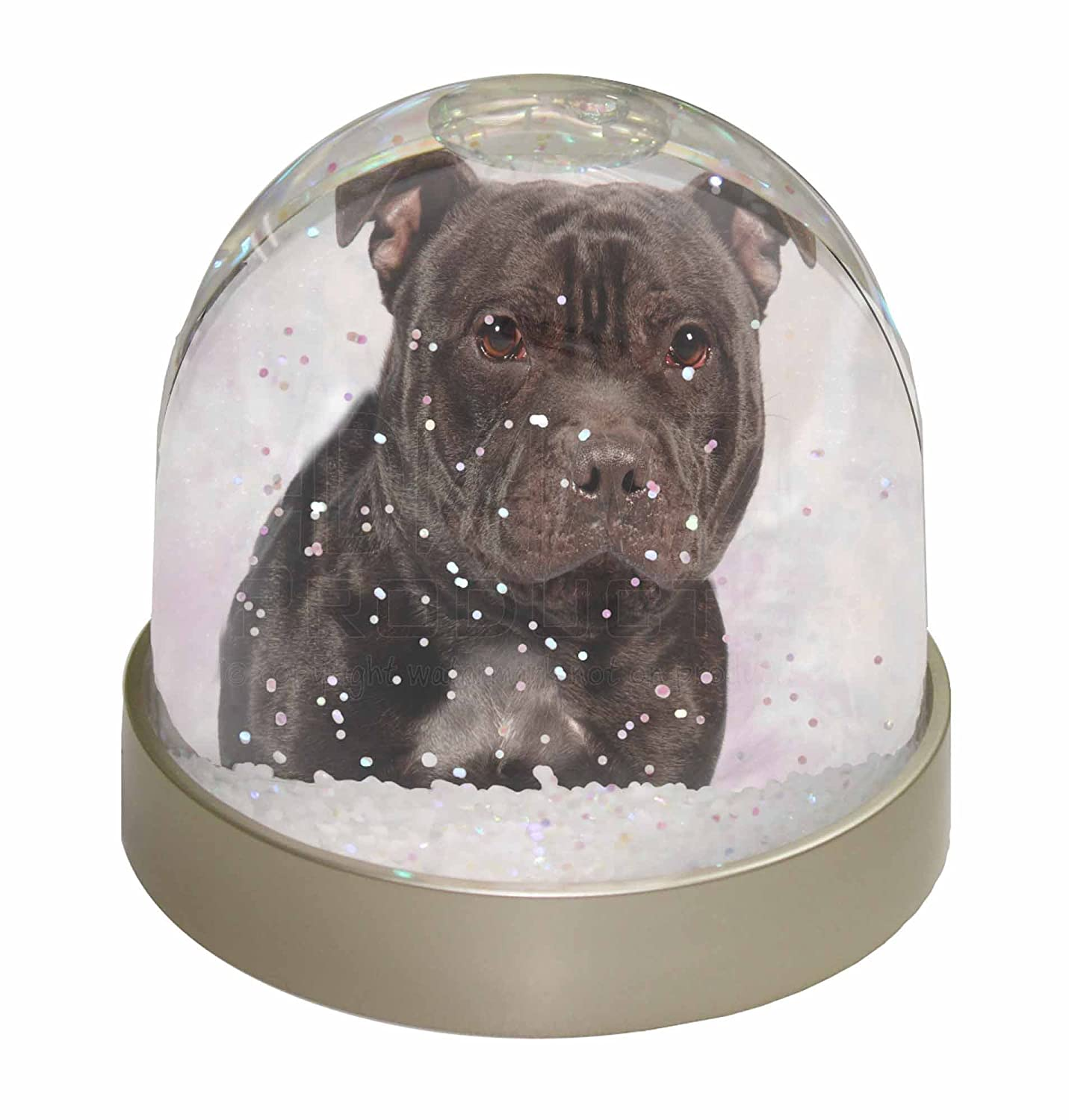 Advanta Staffordshire Bull Terrier Snow Dome Globe Waterball Gift, Multi-Colour, 9.2 x 9.2 x 8 cm Advanta Products AD-SBT4GL