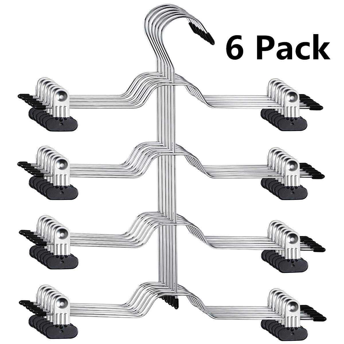 HOMEIDEAS Space Saving Pants Hangers, 4 Tier Kids Pants/Skirt Hangers with 8 Clips - Metal Multi Layers Non Slip Trousers Hangers for Skirts Pants Slacks Jeans, Pack of 6 by HOMEIDEAS