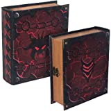 Grimoire Deck Box, Hellbent   Large Wooden Spellbook Style Fabric Lined Deck or Cube Box for MTG, Yugioh, and Other TCG   1000+ Card Capacity