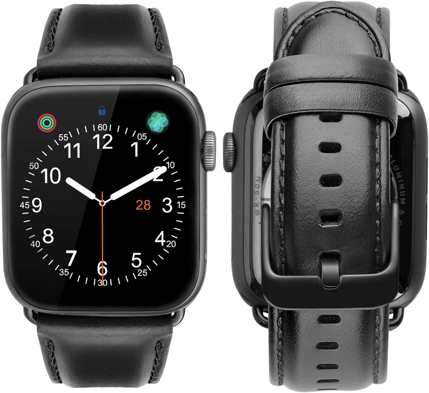 iBazal Compatible with Apple Watch Band 42mm 44mm,Genuine Leather Strap Replacement for iWatch Series 6 SE 5 4 44mm Series 3 2 1 Strap 42mm Men Women Sports&Edition 42/44mm Black+Black Clasp
