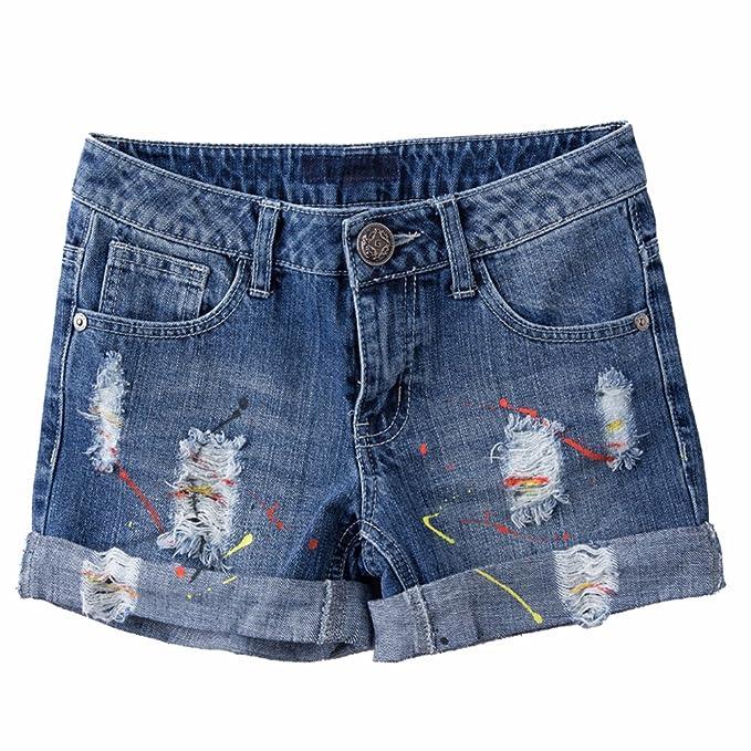 0780317a28be2 TieNew Mujeres Verano Casual Pantalones Cortos de Mezclilla Moda Rasgados  Mini Vaqueros Pantalones