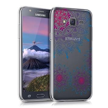 kwmobile Funda para Samsung Galaxy J5 (2015) - Carcasa de [TPU] para móvil y diseño de Flores pintadas en [Rosa Fucsia/Azul/Transparente]