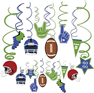 LSKOO 30Count American Football Hanging Swirl Decorations,Football Theme Decoration Sports Game Day Birthday Football Party Supplies Fan Decors