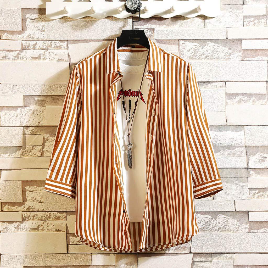 Palalibin New Summer Mens Cool Thin Breathable Stripe Button Cotton Shirt Short Sleeve