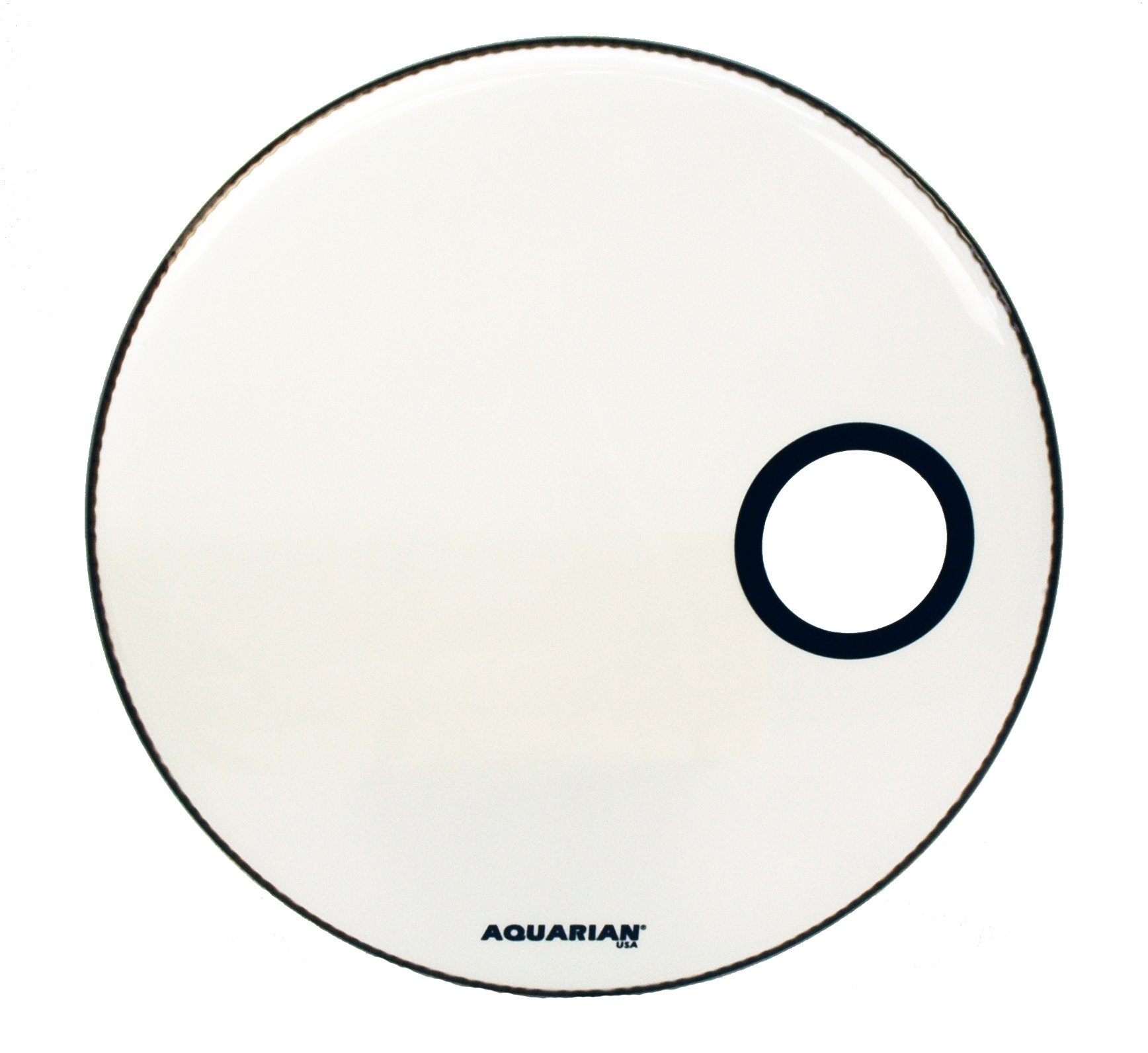Aquarian Drumheads SMPTCC18BWH Offset Ported Bass 18-inch Bass Drum Head, goss white by Aquarian Drumheads