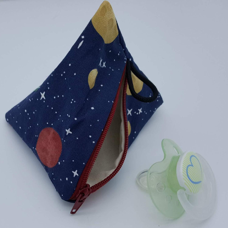 Aufbewahrung Schnuller-Tasche XL f/ür 2-4 Nuckel Weltall Planeten