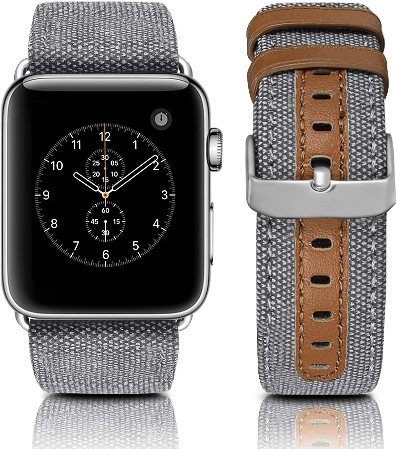 Jobese Bands Compatible with Apple Watch 42mm/44mm 38mm/40mm, Elegant Canvas Fabric Genuine Leather Straps with Black Silver Buckle Compatible with Apple Watch Series 6/5/4 /3/2/1