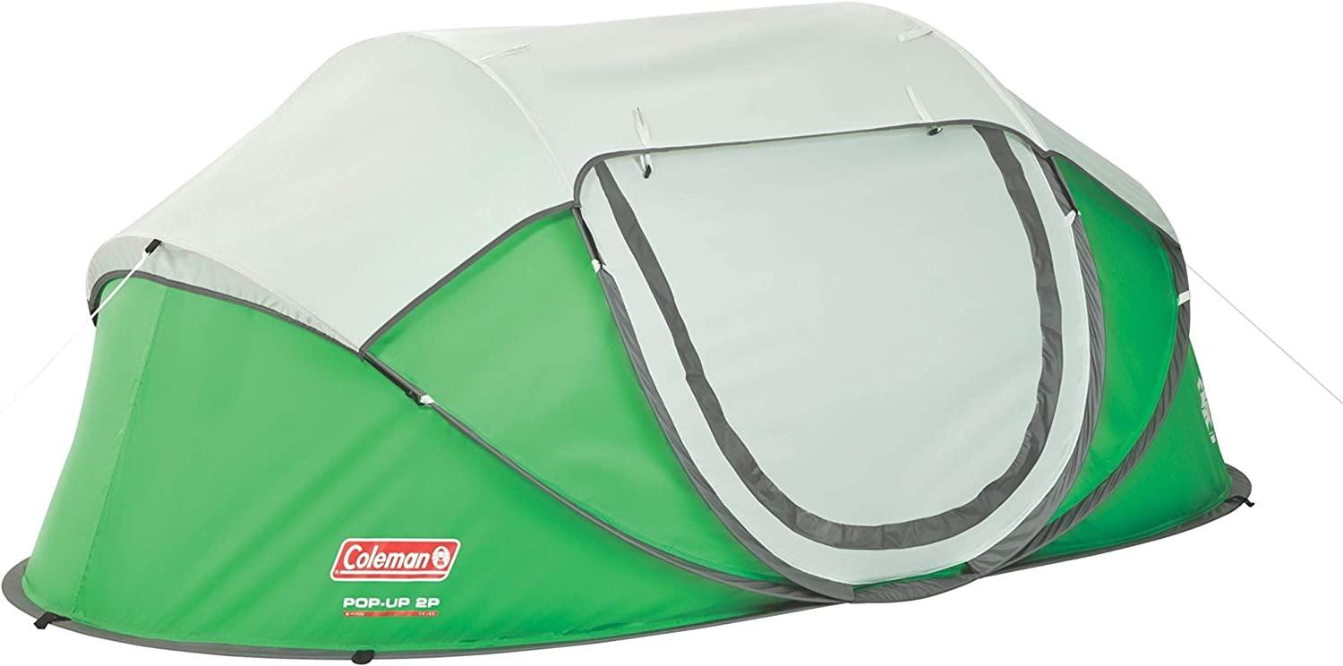 Green and cream pop up tent on white background