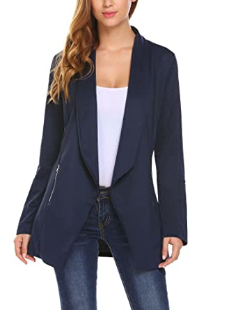 04b21425f4a6d ELESOL Women's Plus Size Lightweight Open Front Irregular Hem Draped Tuxedo  Blazer Navy Blue/XXL at Amazon Women's Clothing store:
