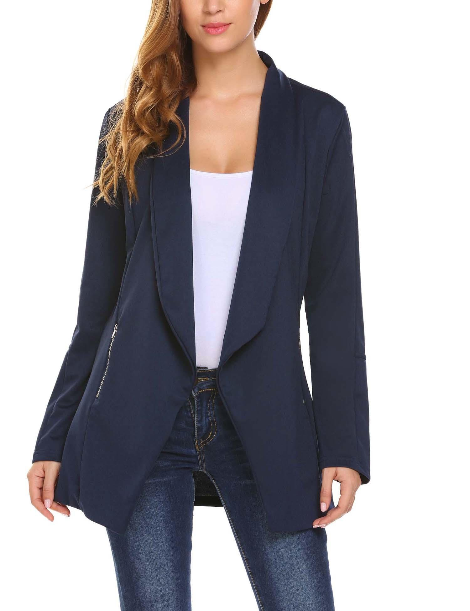 Zeagoo Women's Plus Size Lightweight Open Front Irregular Hem Draped Tuxedo Blazer Navy Blue/XXL by Zeagoo