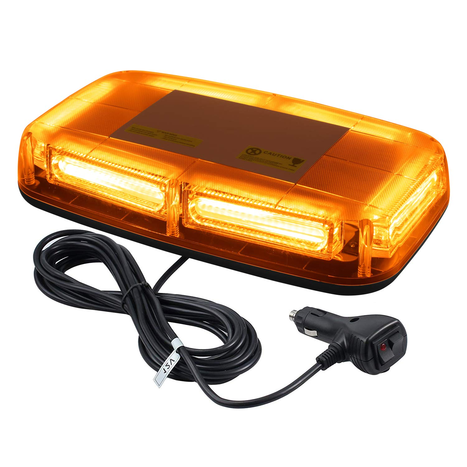 NISUNS 12V 24 Watt COB LED Amber/Yellow Roof Top High Intensity Law Enforcement Emergency Hazard Warning Strobe Beacon Lights w/Magnetic Base (Amber)