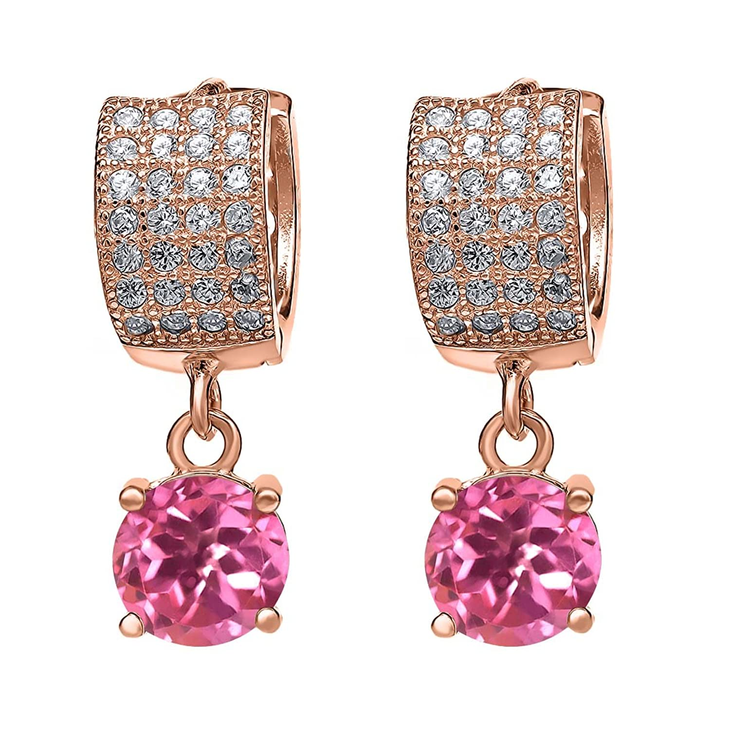 3.77 Ct Round Pink Mystic Topaz 18K Rose Gold Plated Silver Earrings