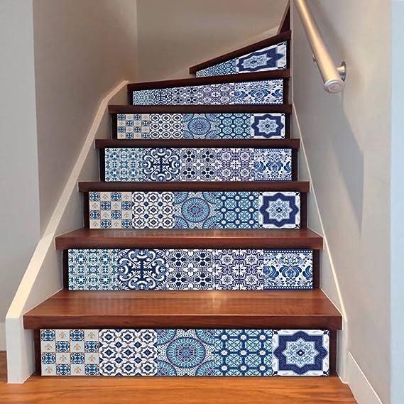 frola House creativos decorativa 3d azul y blanco porcelana Estilo azulejo etiqueta para subir escaleras – Escaleras Pegatinas Decals Wall Paper para paredes Cocina Cuarto de baño Escalera Decals Home Decoración: Amazon.es: