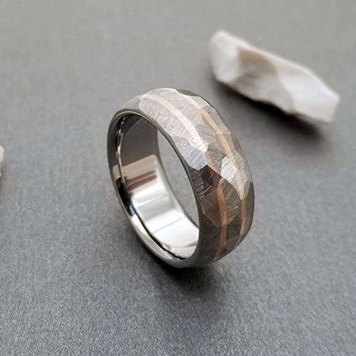 Titanium Band 8mm Titanium and Gold or Silver Two tone Wedding Ring Two Tone titanium gold Ring Band for Men 0013 White Yellow rose gold