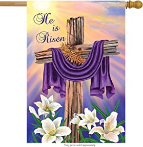"Briarwood Lane Easter Cross House Flag Religious Holiday He is Risen 28"" x 40"""