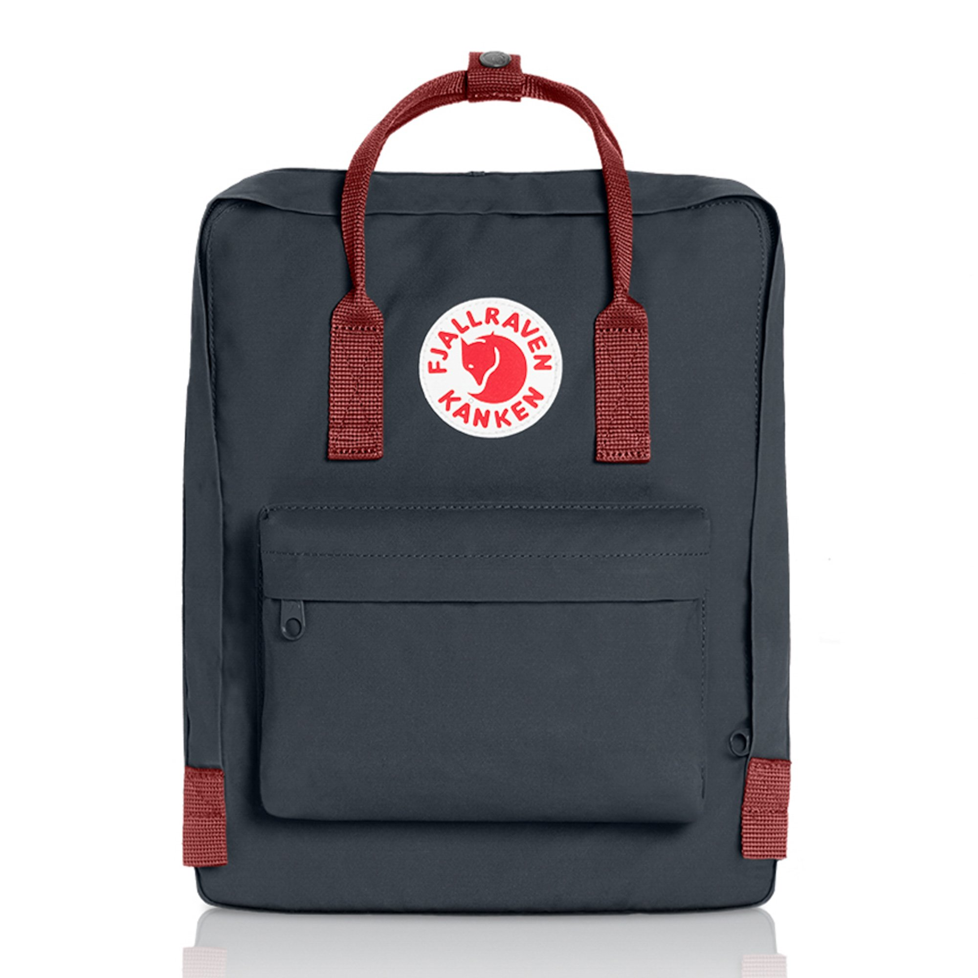 Fjallraven - Kanken Classic Pack, Heritage and Responsibility Since 1960, One Size,Black/Ox Red