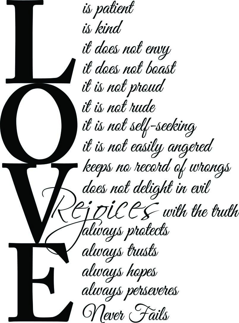 (23x31) Love is patient love is kind 1 Corinthians 13:4-7. Vinyl Wall Decal Decor Quotes Sayings Inspirational wall Art by Ideogram Designs (Image #1)