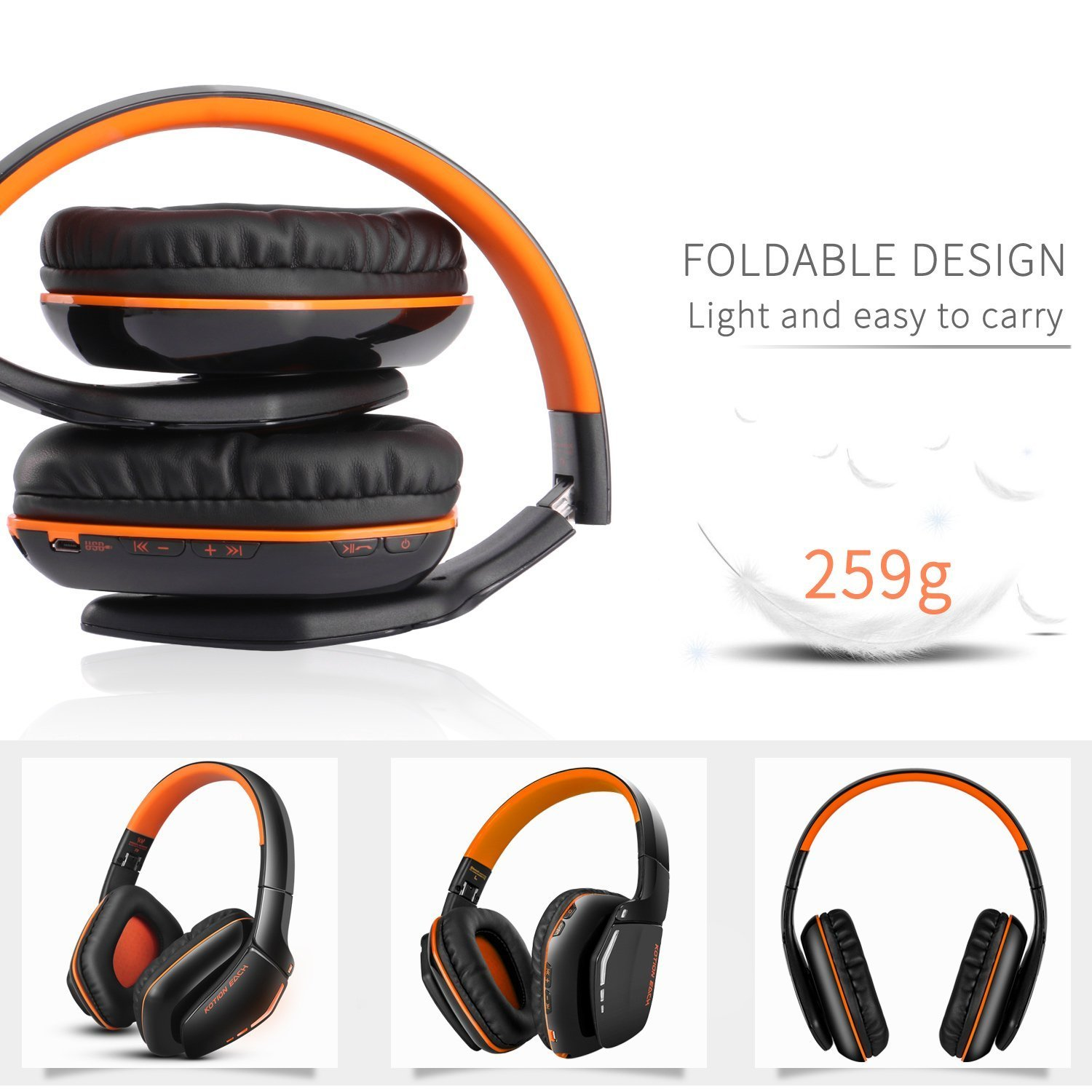 ZaKitane KOTION EACH B3506 Bluetooth Headphones for PS4 XBOX ONE S, Wireless Headset Foldable Gaming Headset V4.1 with Mic for Playstation 4 PC Mac Smartphones Computers (Orange)