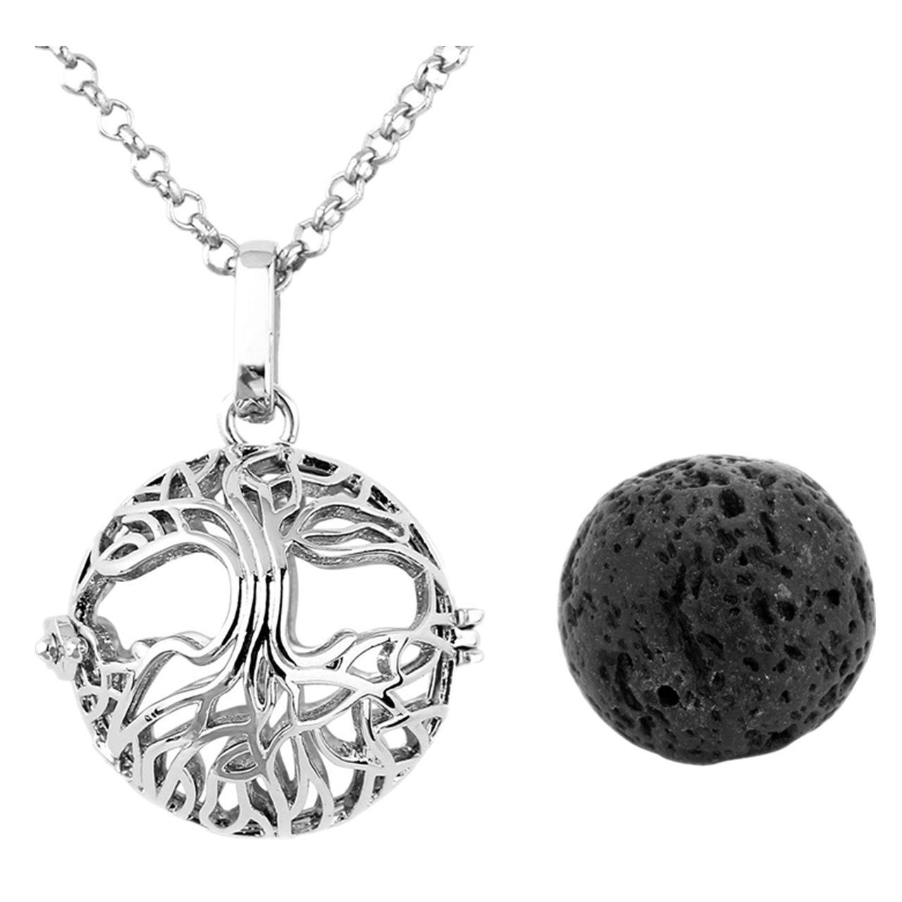Jovivi Lava Stone Aromatherapy Essential Oil Diffuser Tree Life Locket Pendant Necklace 28'' Gift Box
