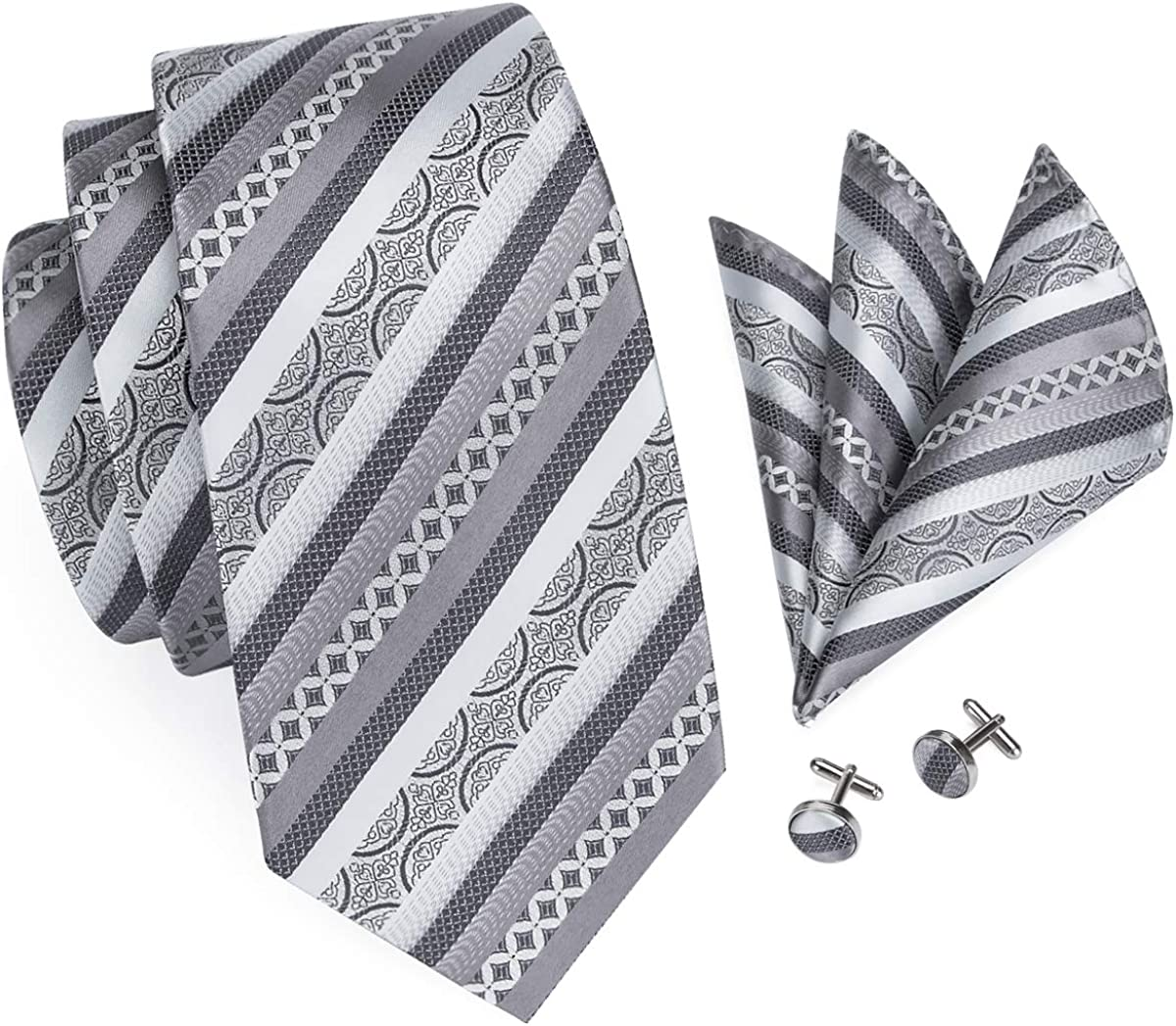 Tie Neck tie with Handkerchief Silver Grey Stripe