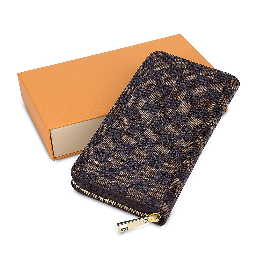 Olyphy Retro Wallet for Women, Long Wallet Clutch Tri-fold Credit Card Holder with Box