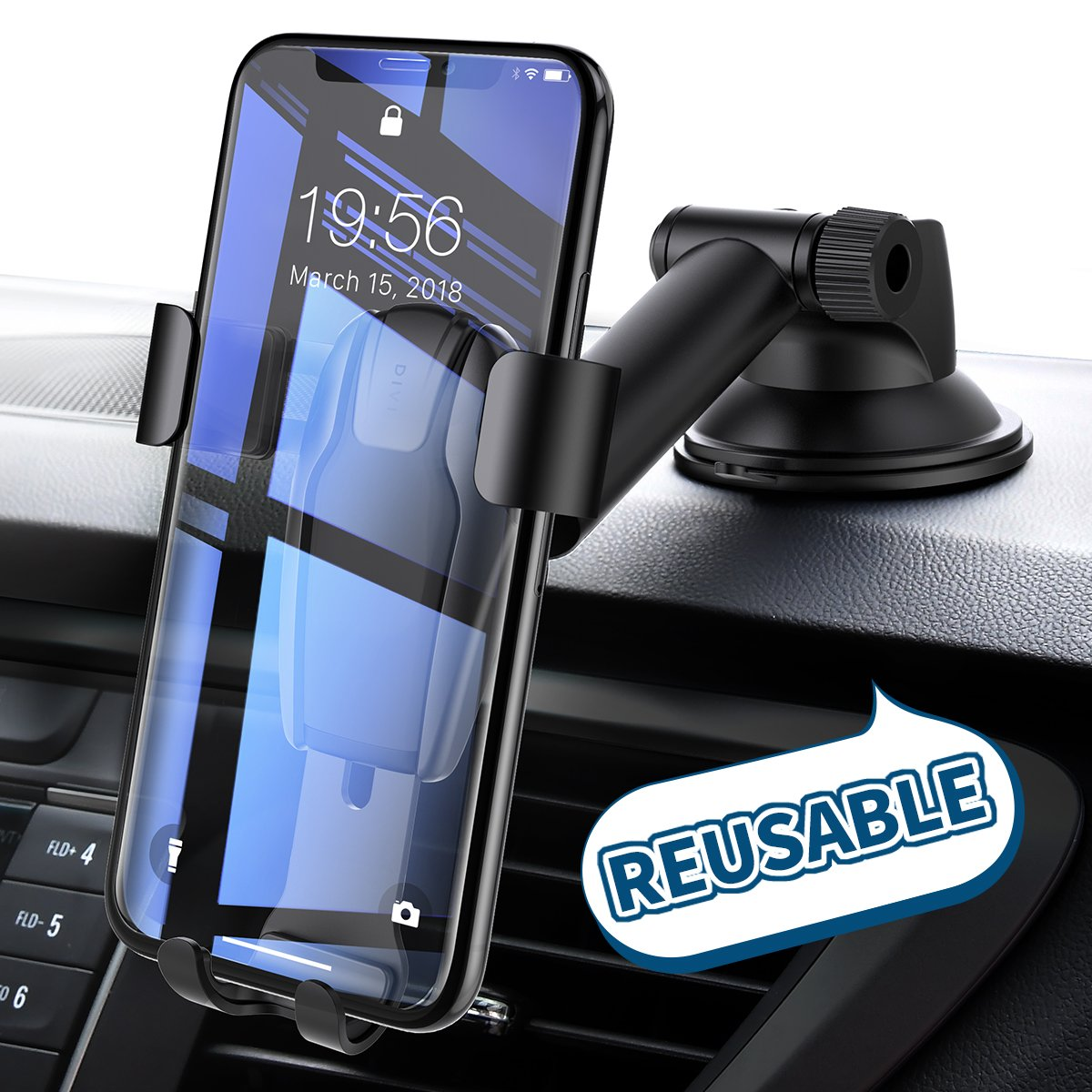 Cell Phone Holder Car, Universal Dashboard Cell Phone Holder Gravity Auto-Clamping Car Cradle Mount Adjustable Car Holder Phone X/ 8/7/ 6s/ Plus, Galaxy S9/ S8/ S7 Edge - Ainope by Ainope (Image #1)