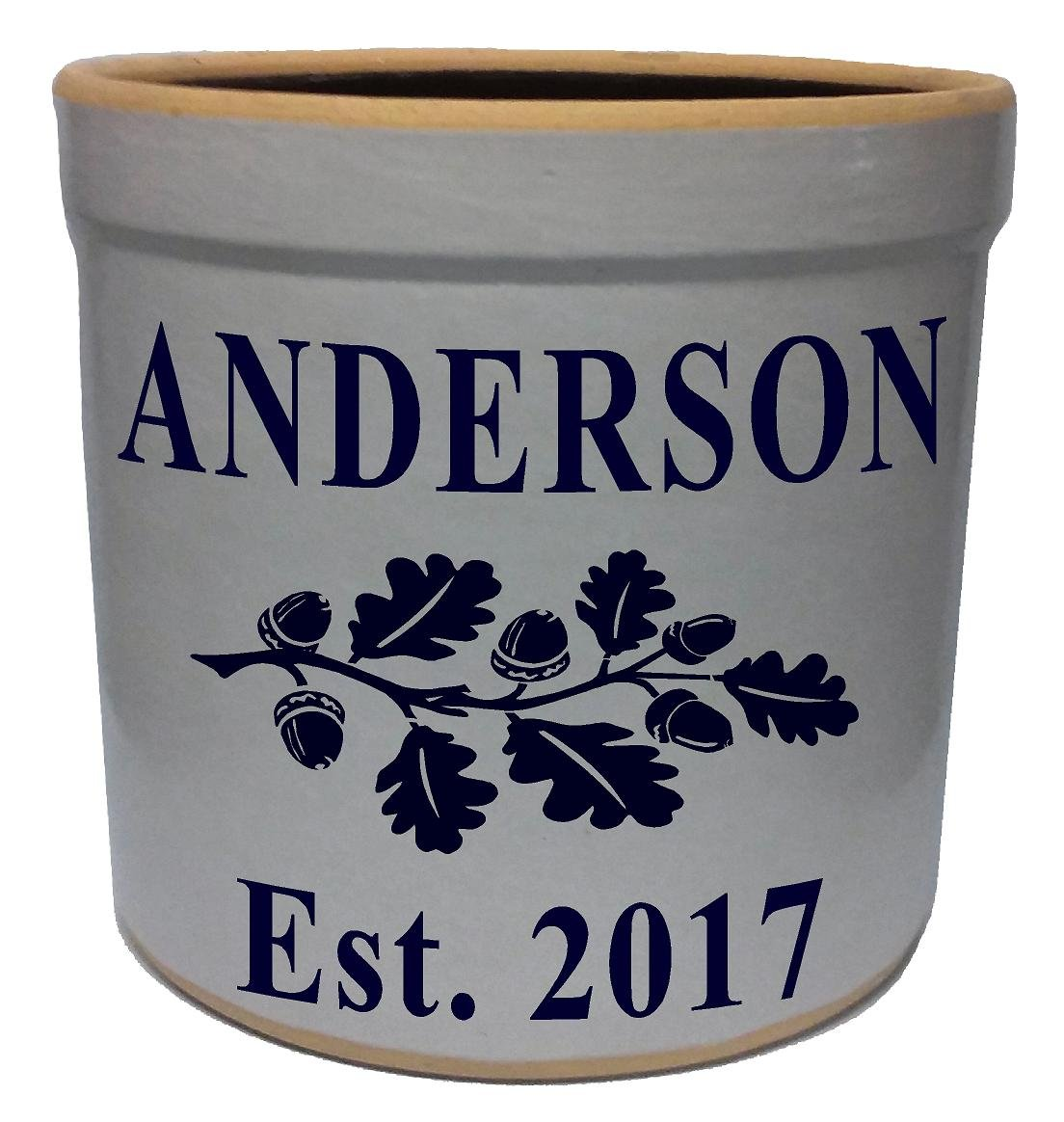 3 Gallon Personalized Stoneware Crock - Oakleaf-Branch