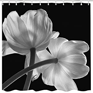BROSHAN Black and White Flower Shower Curtain Set, Nature Floral Decor 3D Art Printing Spring Summer Theme Scene Polyester Waterproof Fabric Bath Curtain with Hooks, Bathroom Accessories, 72x 72 Inch