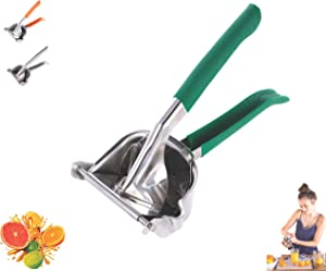 Lightweight Stainless Steel Manual Fruit Juicer Lemon Squeezer w/Rubber Handle | Citrus Lime Orange | Premium Hand Press Extractor Tool | Heavy Duty (Green)