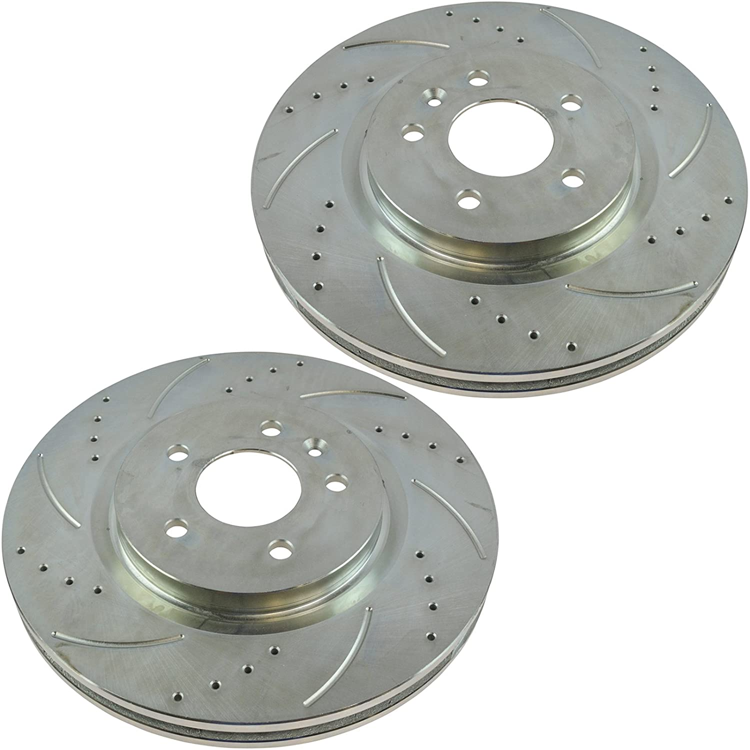 Nakamoto Performance Brake Rotor Drilled Slotted Rear Zinc Coated Pair for Ford