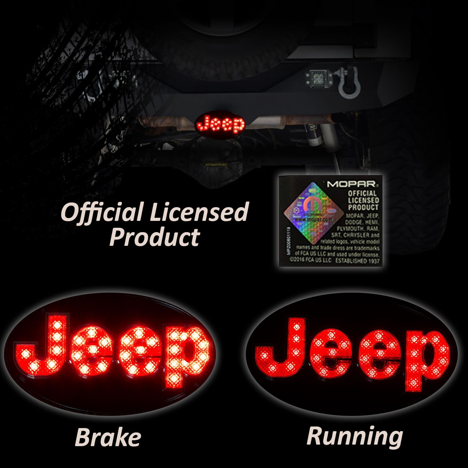 Bosswell Jeep Hitch Cover Licensed Led Light Running Saab Display Wiring Harness And Brake Trailer Towing Receiver Plug 2 Inch Chrome Automotive