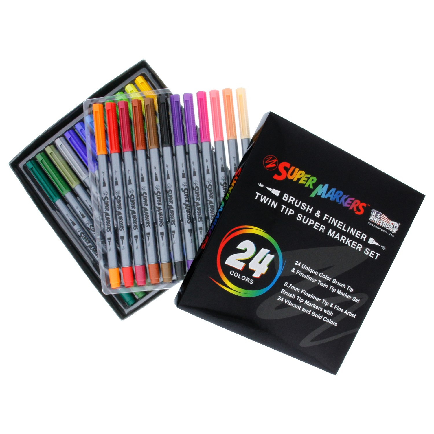 Super Markers 100 Unique Colors Fineliner and Brush Twin Tip Marker Set - .7mm Fineliner Tip & 4.55mm Brush Tip Markers with 100 Vibrant and Bold Colors - 100% Satisfaction Guarantee US Art Supply SM-102
