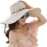 JOYEBUY Women's Floppy Big Brim Hat Bowknot Straw