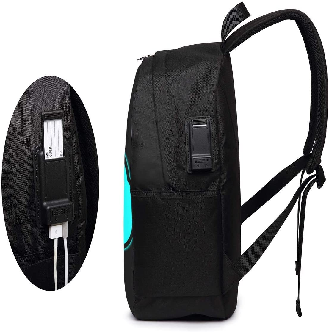 Geometry Dash Laptop Backpack 17 Inch College School Backpack with USB Charging Port Casual Daypack for Travel
