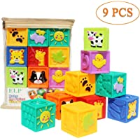 Apartner Baby Blocks (Set of 9), Squeeze Building Blocks Soft Stacking Block Set for Toddlers, Teething Chewing Educational Baby Toys for 6 Months and up with Numbers Animals BPA Free