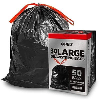 Heavy Duty Tear Resistant Drawstring 33 Gallon Black Trash Bags Box of 50