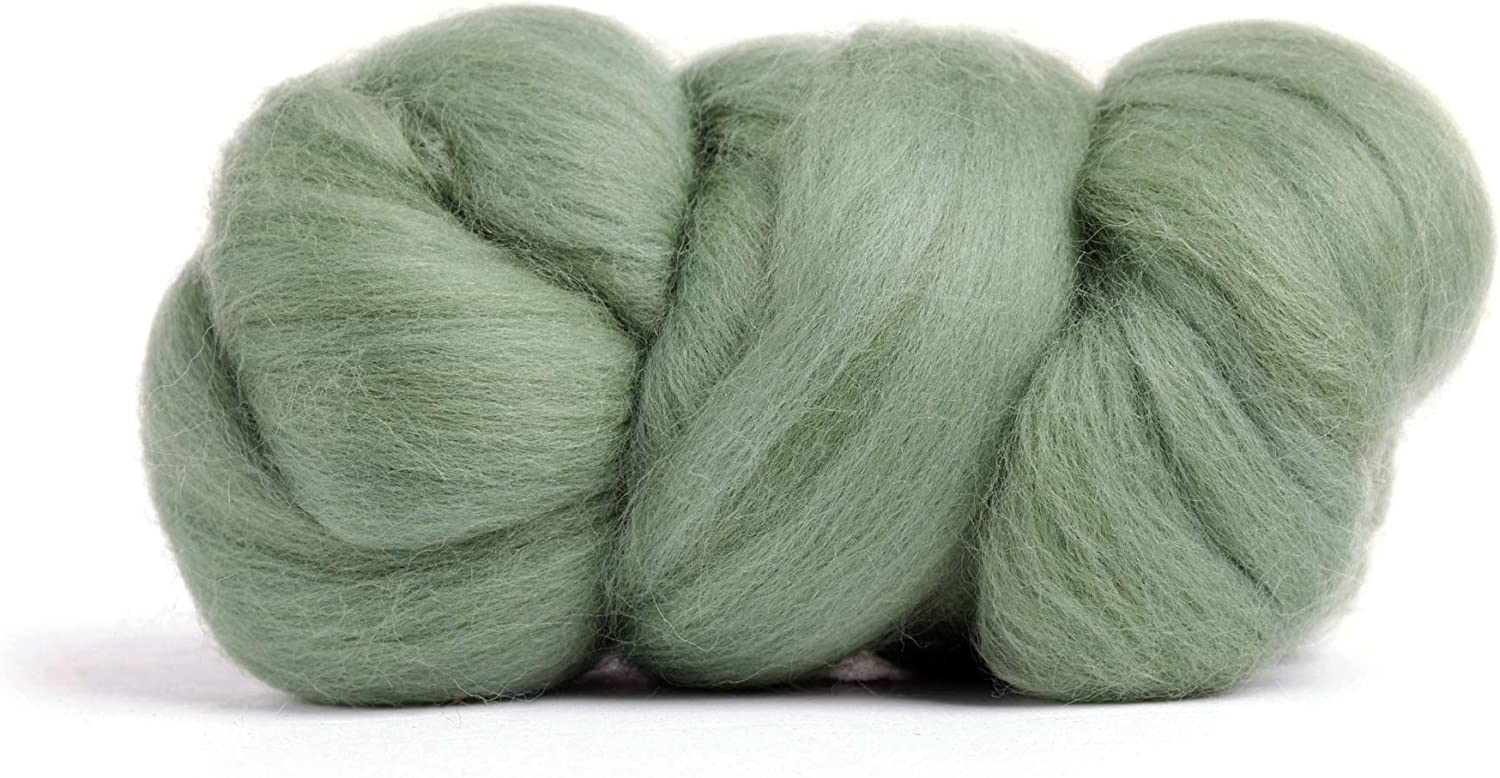 Merino Wool Roving, Premium Combed Top, Color Garden Ivy Green, 21.5 Micron, Perfect for Felting Projects, 100% Pure Wool, Made in The UK
