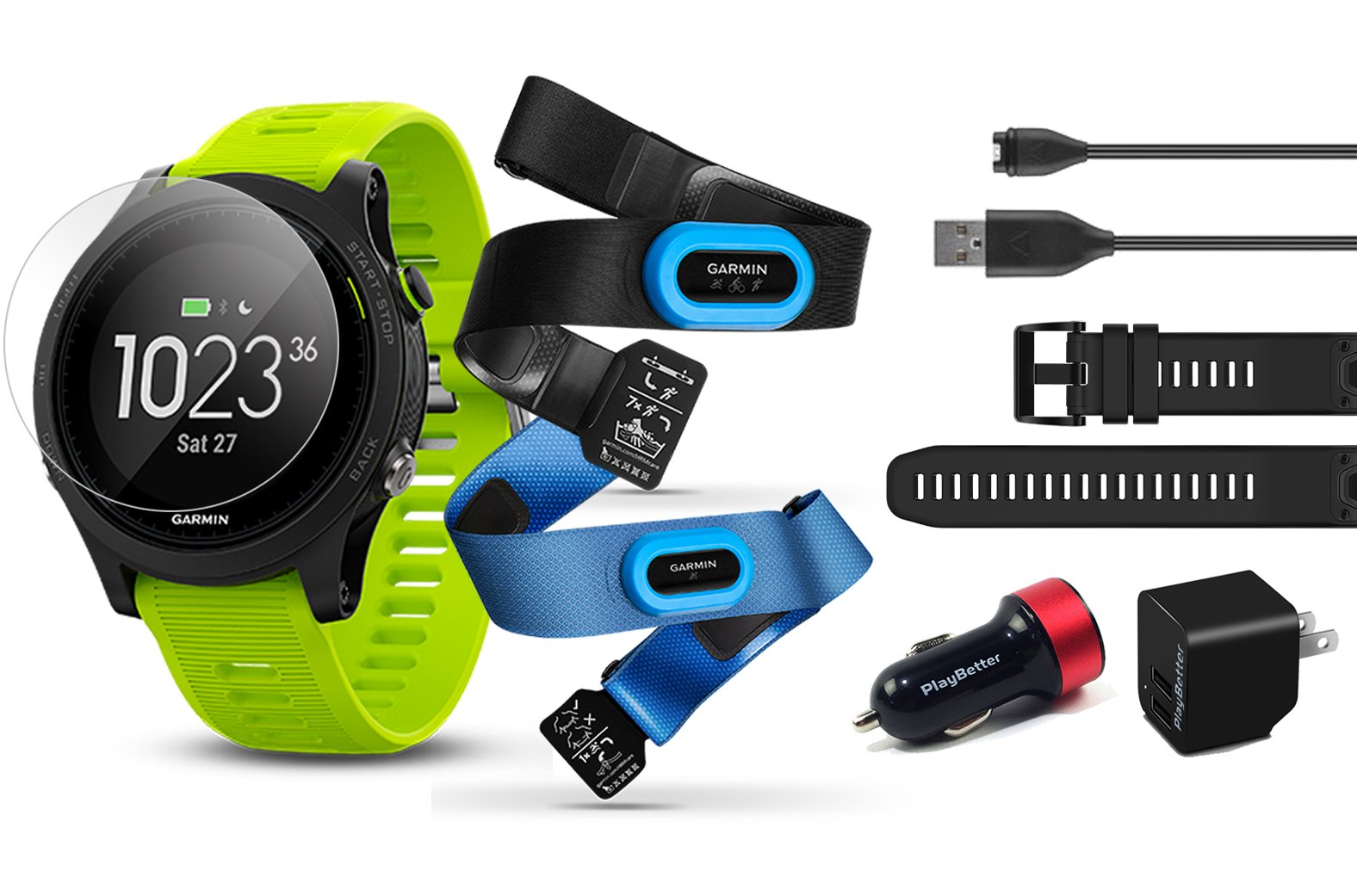 Garmin Forerunner 935 (Tri-Bundle) Power Bundle | Includes HRM Tri & Swim Chest Straps, Glass Screen Protector (x2), Extra Silicone Band (Black), PlayBetter USB Car/Wall Adapters | GPS Training Watch by PlayBetter