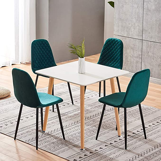 Qihang Us Dining Room Set For 4 Square Dining Table And 4 Green Velvet Dining Chairs With Metal Legs White Dining Table Set Of 4 Chairs For Kitchen Restaurant Small Spaces