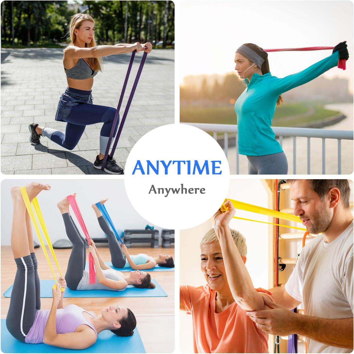 Crossfit WayEee Widerstandsb/änder Fitnessb/änder 4er Set Gymnastikb/änder aus Naturlatex Gummiband Fitness Theraband f/ür Muskelaufbau Pilates Gymnastik Yoga