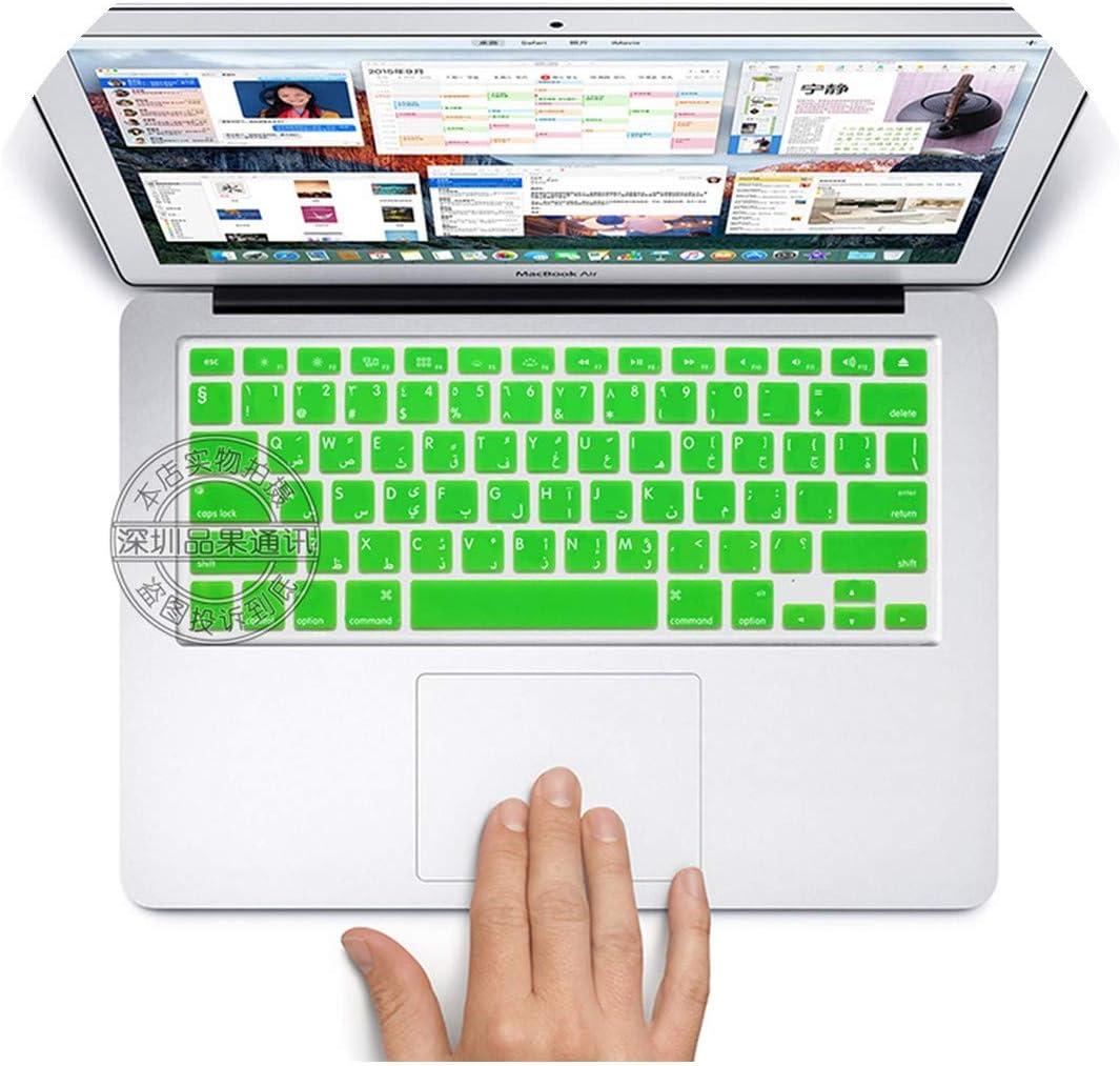 "Membrana del Teclado US Layout Arabic/Arab Colorful Silicone Keyboard Cover Skin Protection Sticker for 13"" 15"" Mac Macbook Air Pro Retina/iMac G6,Green"