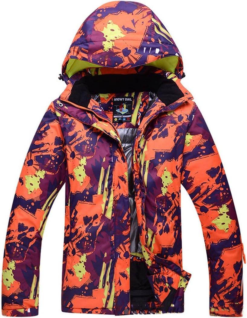Makecny 女性のマウンテンスキージャケット防水防風ウォームジャケット (色 : オレンジ, サイズ : L) オレンジ Large