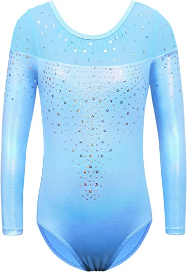 Sinoeem Gymnastics Leotards for Girls Long Sleeve Diamond Splice Ballet Dancewea for 5-12 Years