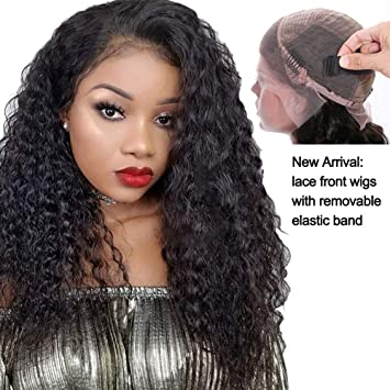 Amazon.com   Lace Front Wigs Human Hair Curly Wigs for Black Women with  150% density de00fa26e6