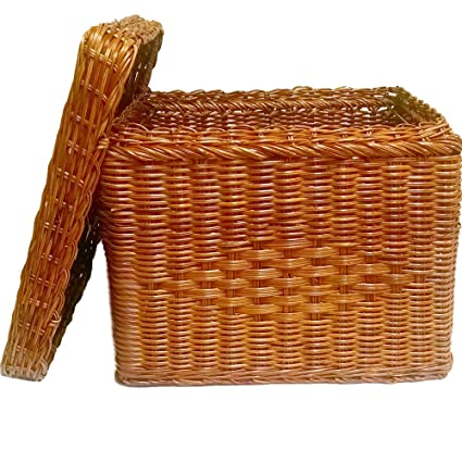 amazon com file box wicker w file rods lid letter size