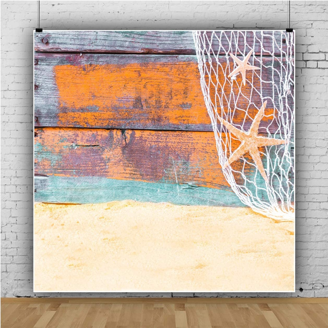 YEELE 10x10ft Nautical Theme Backdrop Rustic Wood Floor Old Fishing Net Photography Background Kids Girls Portrait Tropical Hawaiian Picture Wedding Birthday Decoration Photobooth Props Wallpaper
